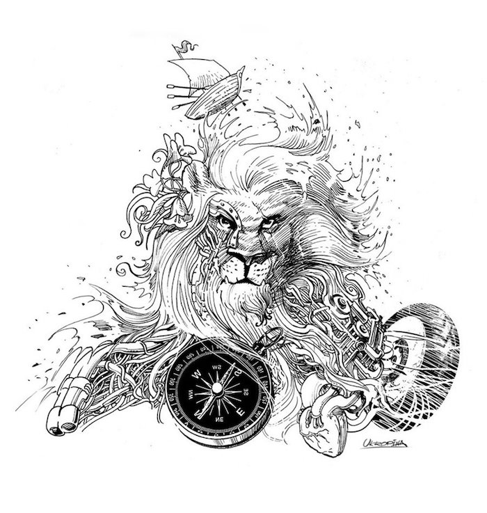 läwenkopf zeichnung, löwe mit kompass, schiff, blumen und wasserwellen, tattoo vorlage
