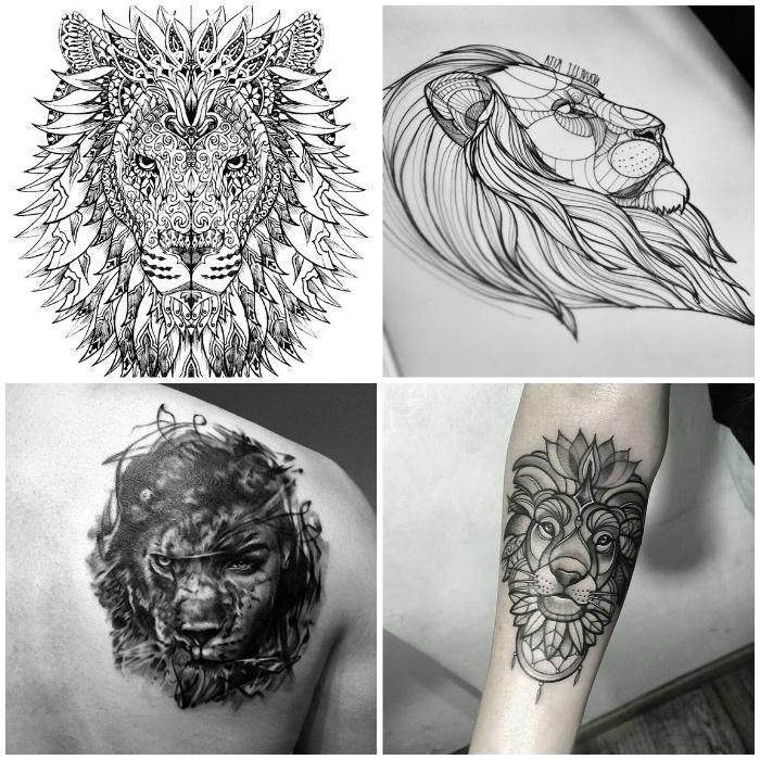 löwenkopf zeichnung, tattoo vorlage, löwenkopf mit mandala motiven, tattoo am rücken