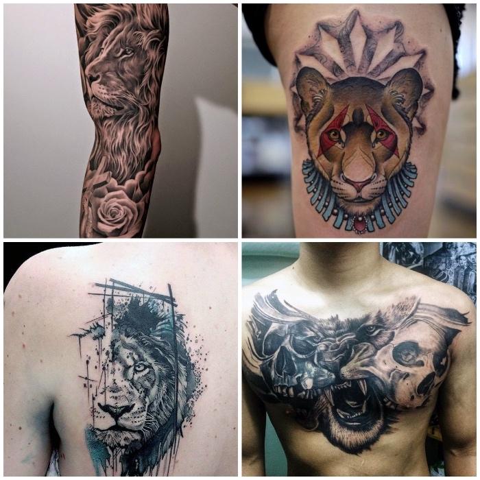 farbiges löwin tattoo am oberschenkel, löwe mit schädeln an der brust, halber läwenkopf am rücken