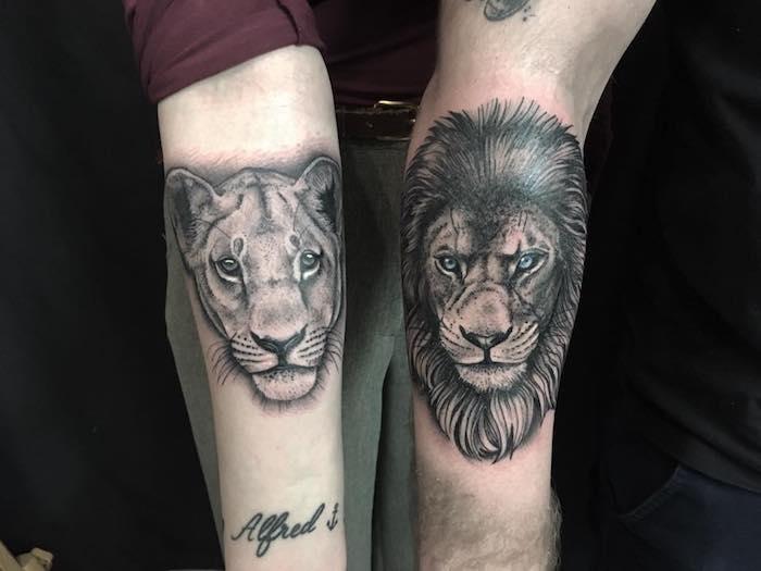 löwin tattoo am unerarm, tattoo-motvie für paare, löwin und löwe, tätowierungen an den ärmen