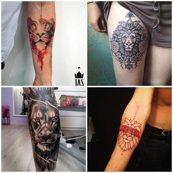 löwin tattoo am unterarm, läwenkopf mit mandala motiven, realitische tätowierung am bein