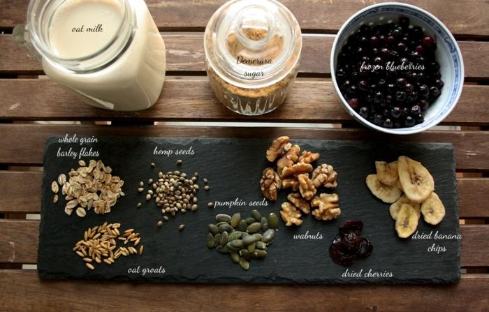 fruchtriegel selber machen zutaten bilderrezepte zur erleichterung, vorbereitung auf das kochen, samen, kerne, milch, glas