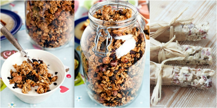 müsliriegel selber machen müsli in einem einmachglas vorbereiten, riegel gegossen in weißer schokolafe