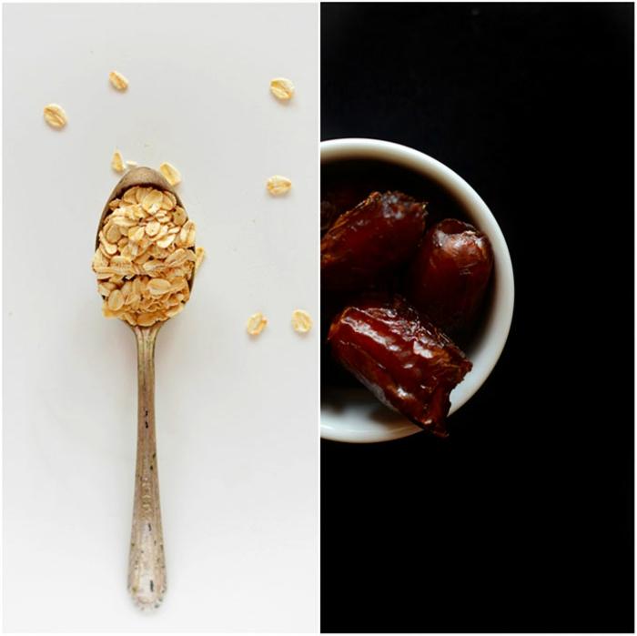 müsliriegel selber machen kalorienarm idee, haferflocken in einer löffel, datteln in schüssel, ying und yang, schwarz weiß