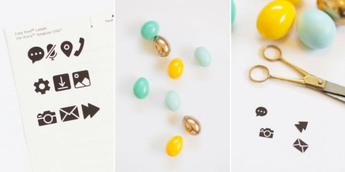 die nützliche Sachen, wie Sie Ostereier bemalen mit schwarzen Aufklebern