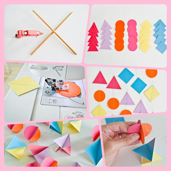 Mobile aus Tonkarton selber machen, bunte geometrische Formen aus Papier ausschneiden