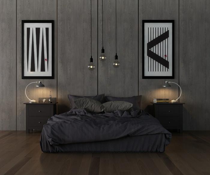 graues Bett, zwei Nachttische und Leselampen, zwei geometrische Bilder, Wandfarbe Hellgrau