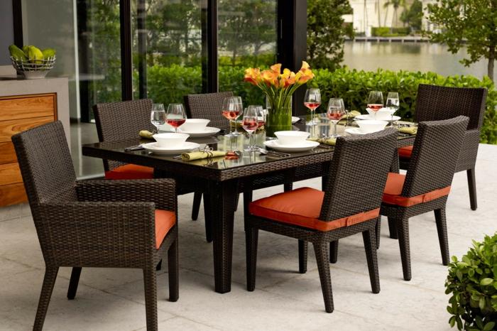 terrassen deko, finden sie die besten ideen großes esstisch mit sechs sitzplätze familienabend im garten