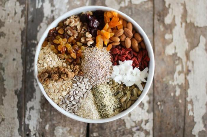haferflocken riegel, alndere zutaten, samen, kerne, nüsse, trockene früchte, kokos, sultaninnen alles in schüssel mischen
