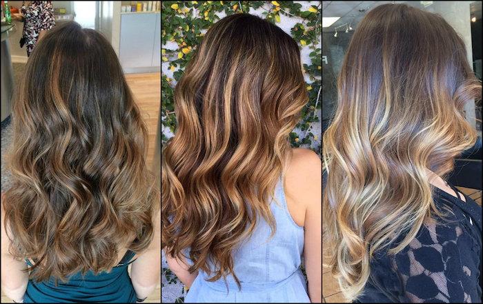 balayage technik ideen zum erstaunen, schöne looks von damen, blonde, braune, rötliche strähne