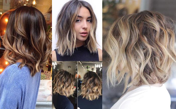 balayage technik ideen zum stylen schöne frauen mit mittellangen haaren, collage, braune haare verschönern