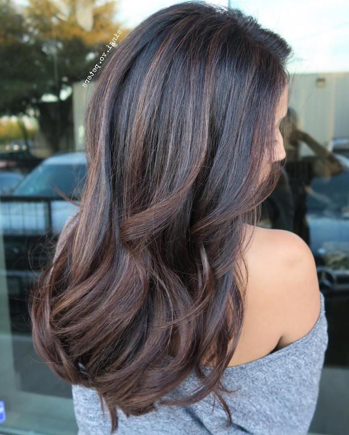 highlights haare braun ideen stil mode lange dunkelbraune haare, braune highlights