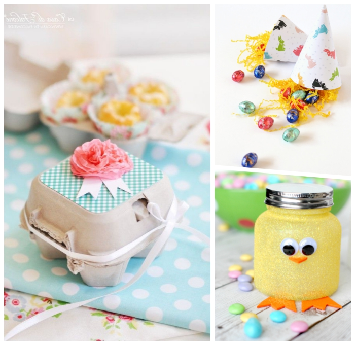 geschenkbox aus eierbox, rosa blume aus seidenpapier, osterbastekn mit kidnern, einmachglas dekoriert wie hühnchen