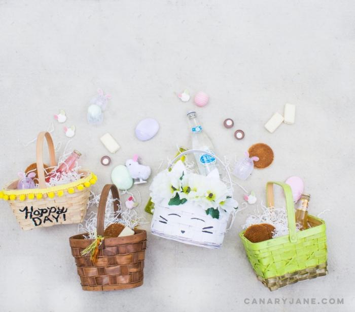 kleine körbchen dekroiert mit farbe und pomponband, osterbasteln mit kindern, osterkörbchen