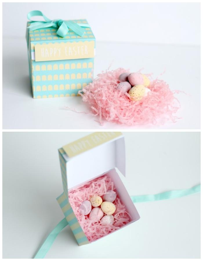 rosa ostergras, kleine eier, selsbtgemachtes geschenkbox in beige und blau, osterdeko basteln