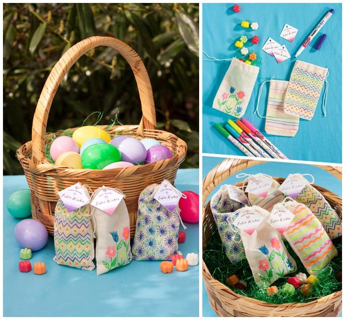 geflochtener korb gefüllt mit bunten eiern aus kunststoff, osterdeko selber machen, kleine beutel aus stoff