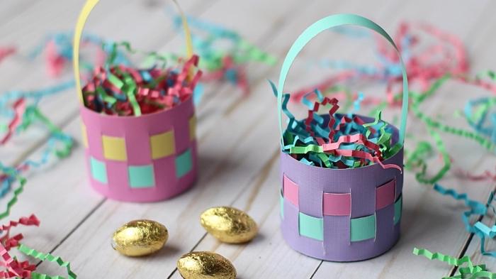 osterdeko selber machen, ostergeschenke für die kinder, osterköbchen aus buntem papier, goldene eier