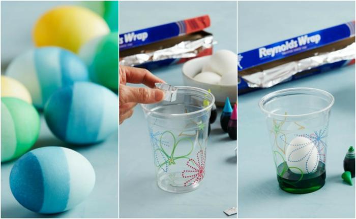 Schritt für Schritt Anleitung, wie Ombre Effekt Eier selber herzustellen