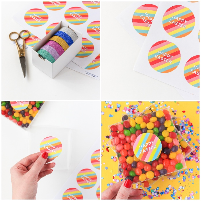 ostergeschenke basteln, stickern ausdrucken, boxe aus kunststoff, bunte bonbons