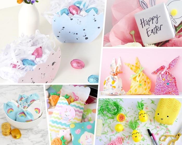 ostergeschenke basteln ideen, kleine geschenke für die kinder zum ostern, osterkörbchen aus papier, stoffbeutel gefüllt mit schokoladenmünzen, eier ananasse