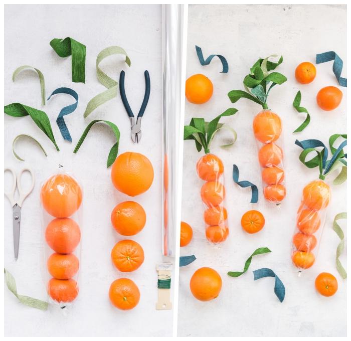 ostergeschenke basteln, orangen und mandarinen, blätter aus krepppapier, basteln zum ostern