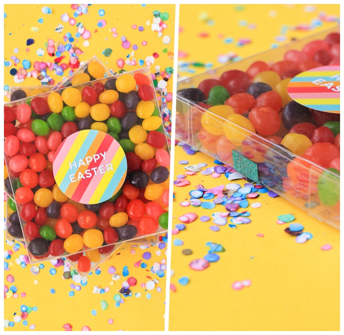 ostergeschenke basteln anleitung, bunte bonbons, geschenke zum ostern für die kinder, süßigkeiten