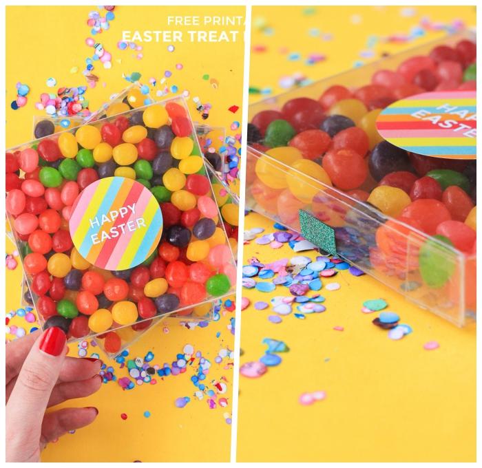 ostergeschenke basteln, boxe aus kunststoff gefüllt mit bunten bonbons, kleine geschenke für die kinder