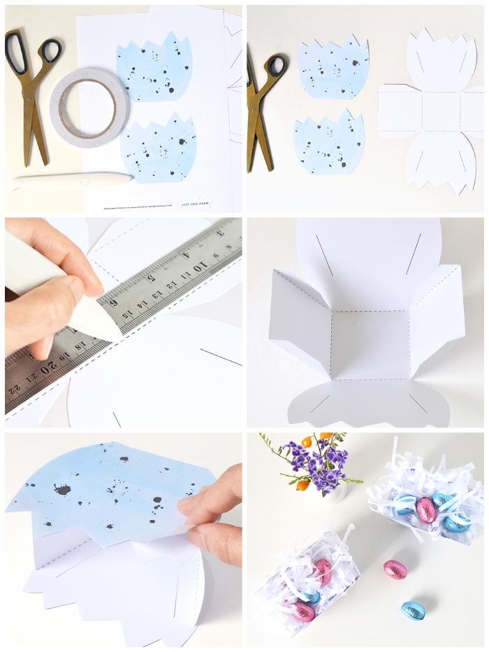 ostern basteln, osterköbchen selber machen aus papier, vorlage frei hochladen, diy anleitung