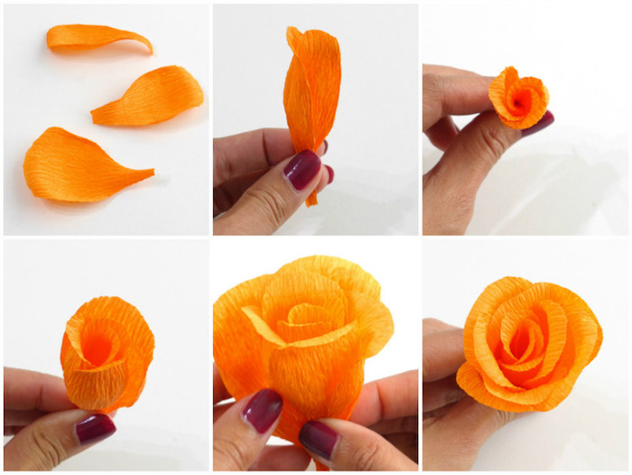 Papierblumen selber basteln, DIY Anleitung in sechs Schritten, blüte aus orangem Krepppapier