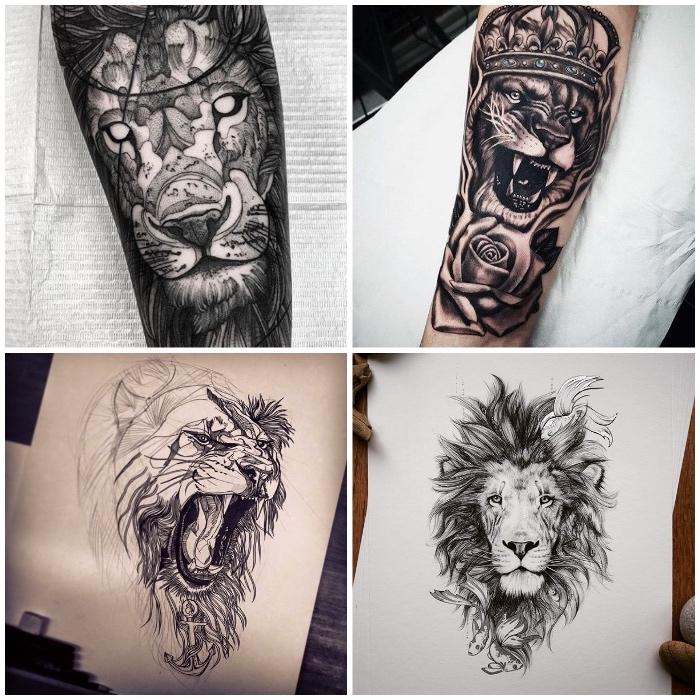 löwenkopf zeichnung, schwarz-graue tätowierungen mit läwen-motiv, tattoo-vorlage