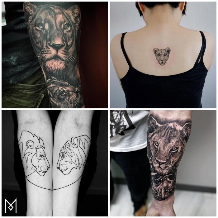 löwin tattoo am unterarm, frau mit kleiner tätowierung am rücken, schwarz-graue tätowierungen