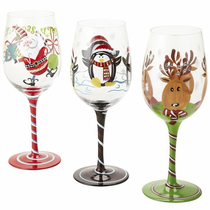 winterlichen Dekorationen auf Glas, Glasmalstifte, lustige Bilder zu Weihnachten
