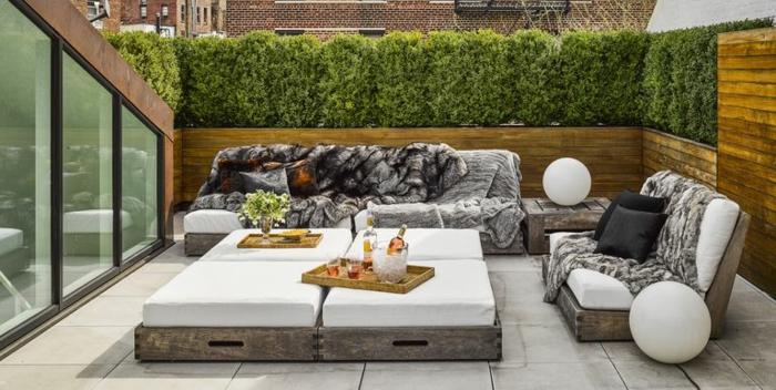 dachterrasse, moderne terrassen genießen, selber einrichten, sofas und liegebereich