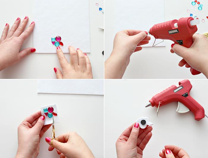 Magnete mit bunten Kristallen selber machen, Anleitung in vier Schritten, Idee für DIY Geschenk