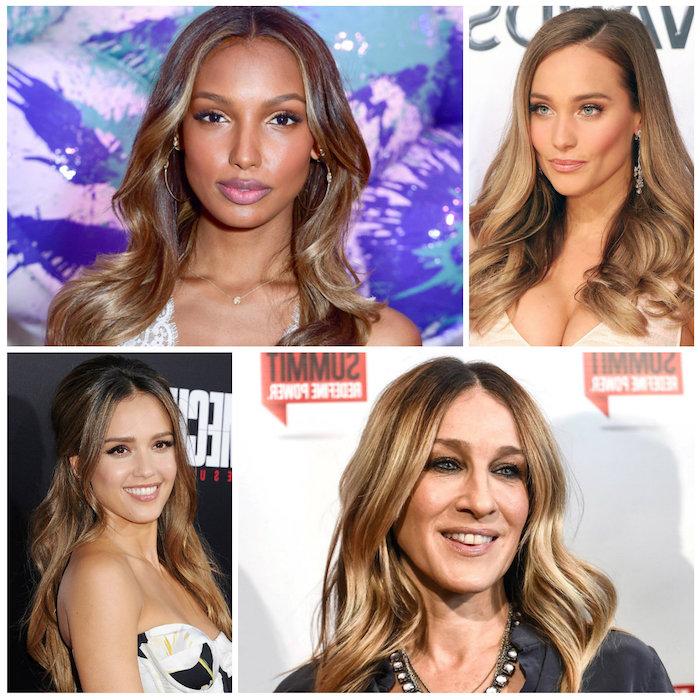 balayage haare stylings wie die berühmten damen von hollywood, lange wellenförmige haare