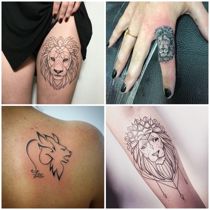 sternzeichnen löwe tattoo am rücken, finger tattoo mit löwen-motiv, tätowierung mit mandala-motiven