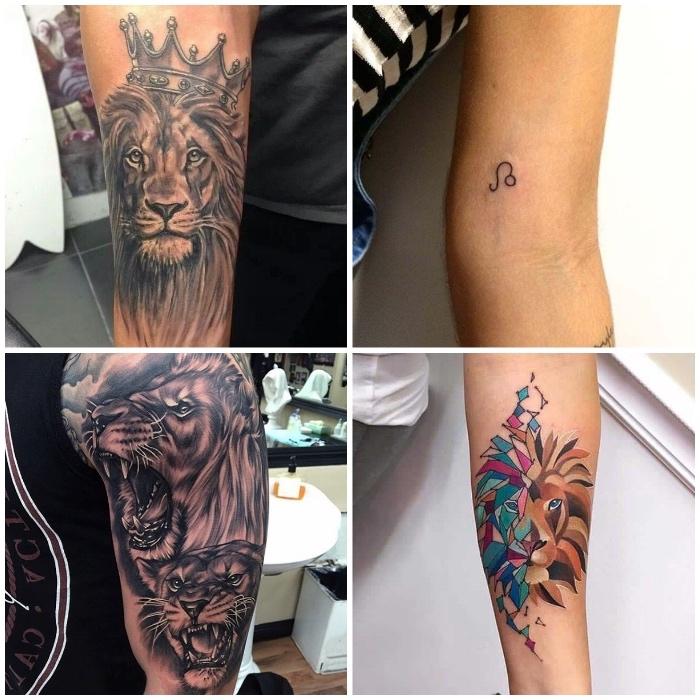 sternzeichnen löwe tattoo, löwe mit krone, farbige tätowierung am unterarm, arm tattoos