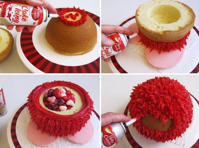 süßigkeiten torte selber machen, torte mit rote sahne dekorieren und mit bonbons füllen, pinata