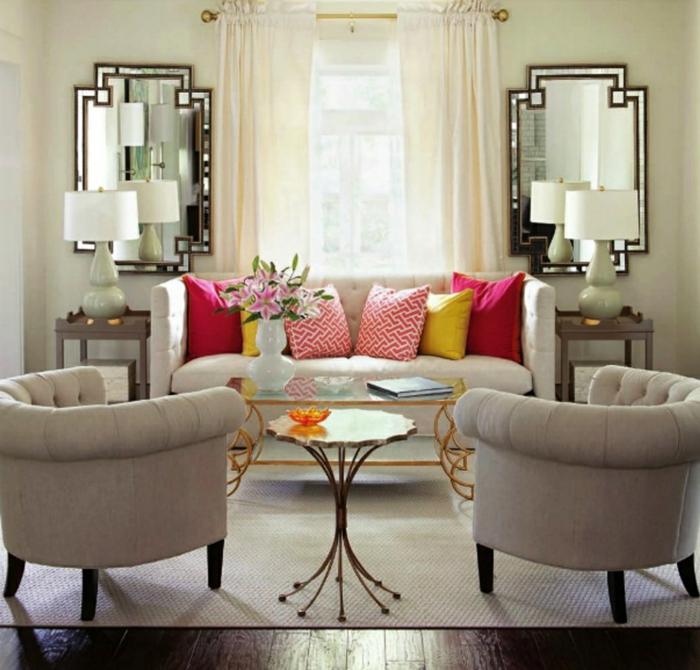 beige Wohnzimmermöbel, Wohnzimmer gestalten, eine symmetrische Einrichtung
