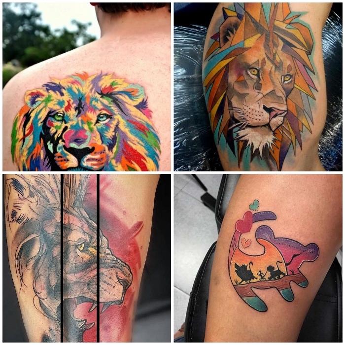 tattoo könig der löwen, farbige tätowierungen mit löwen-motiven, mann mit rücken tattoo