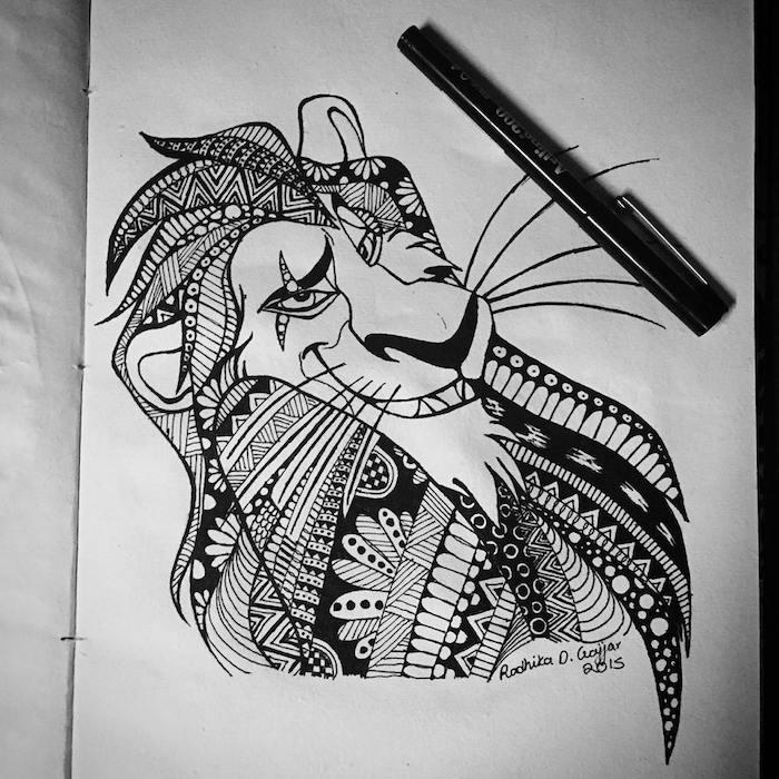 tattoo könig der löwen, löwe zeichnen, tattoo-vorlage, löwe mit geometrischen elementen