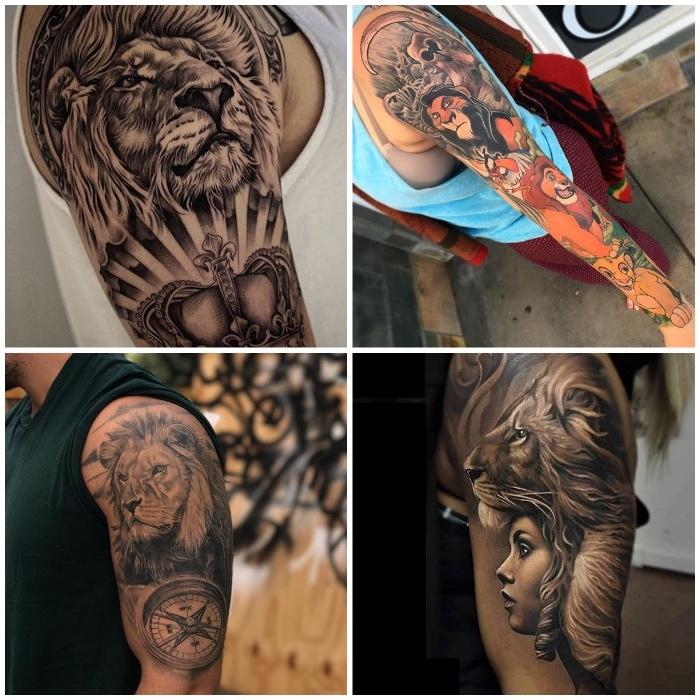 tattoo könig der löwen, löwe in komnination mit kompass, löwe mit krone, realistische tätowierungen