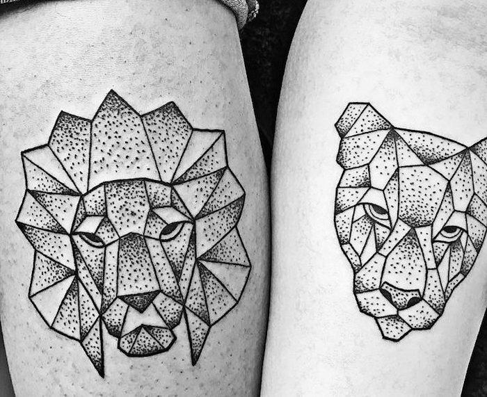 tattoo löwe, tattoo-motive für paare, löwe und löwin, abstrakte tätowierungen