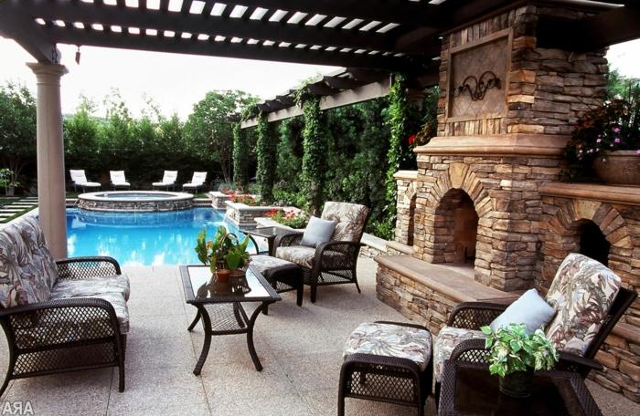 moderne terrassen, lucusgarten mit pool und kamin, sitzecke, genussvolle momente zu hause