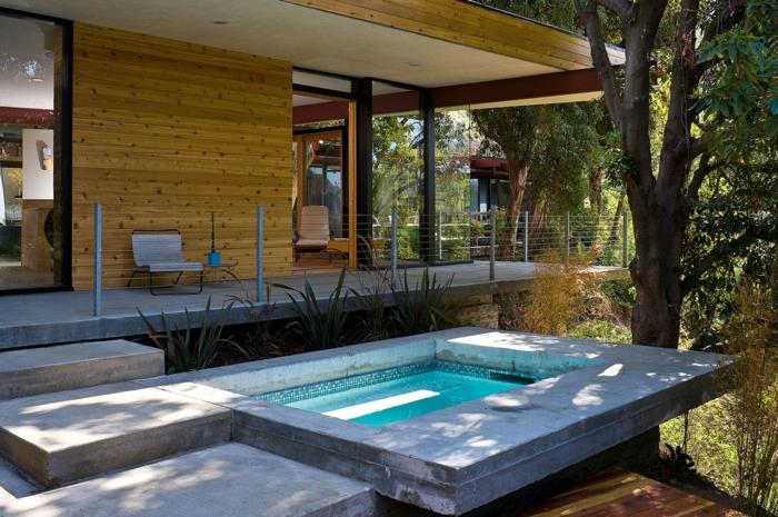 terrassen gestaltungsmöglichkeiten, terrasse auf drei ebenen, mit poolbereich, wasser, frische luft