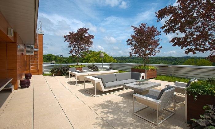 terrasse gestalten, bequemer und großer terrassenraum auf dem dach, kleine bäume, sofas