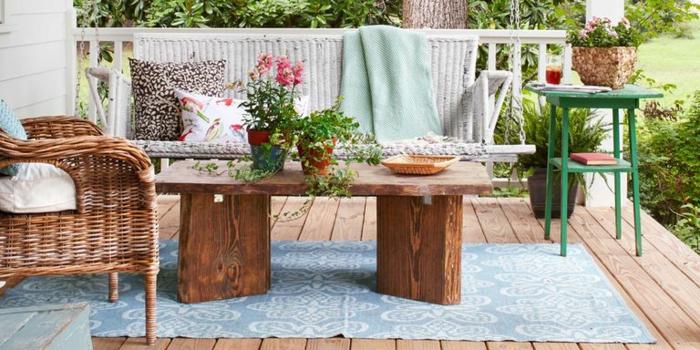 dekoration auf terrassen beispiele, natürliche idee, schönes flair, ambiente