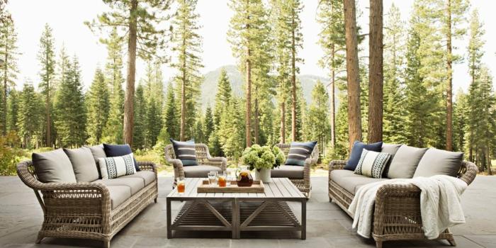 moderne terrassen beispiele, haus im wald besitzen und dieses oftmals besuchen, frische luft, natur
