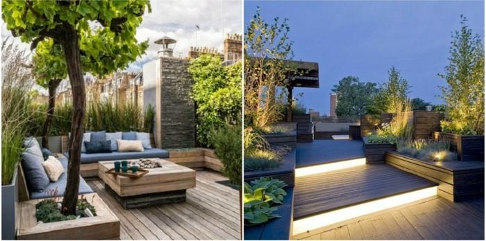 terrassen ideen zwei ideen schöne abend beleuchtung und sitzecke zum erholen tagsüber baum auf der terrasse