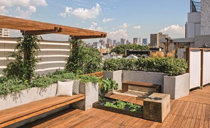 terrassengestaltung einfache idee, wählen sie pflanzen die leicht zu pflegen sind, sitzbänke, kissen